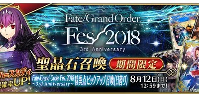【FGOガチャシミュ】「Fate/Grand Order Fes. 2018 ~3rd Anniversary~特異点ピックアップ召喚(日替り)」に対応しました。